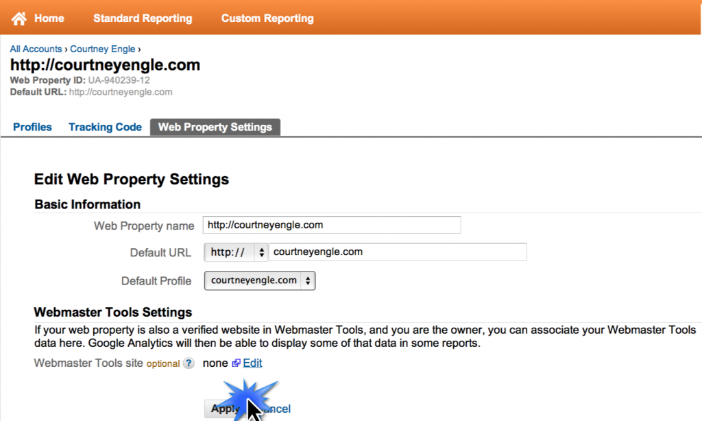 Google Analytics Webmaster Tools Apply