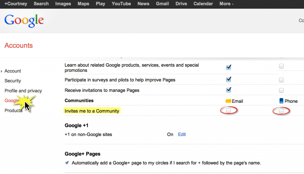 Disable Google+ Communities Notifications