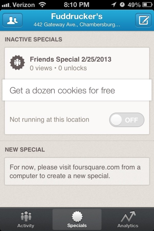 Foursquare Special on Mobile