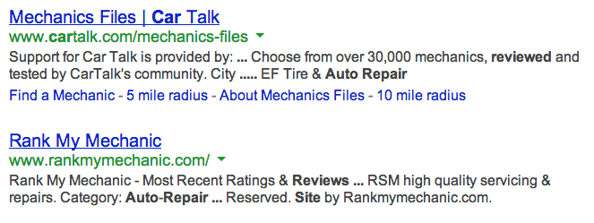 automotive repair reviews