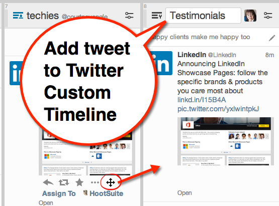 add tweet to twitter custom timeline