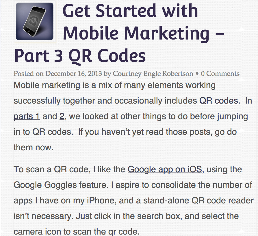 Get Started with Mobile Marketing - Part 3 QR Codes