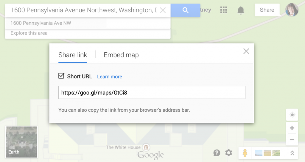 Google Maps insert link to map