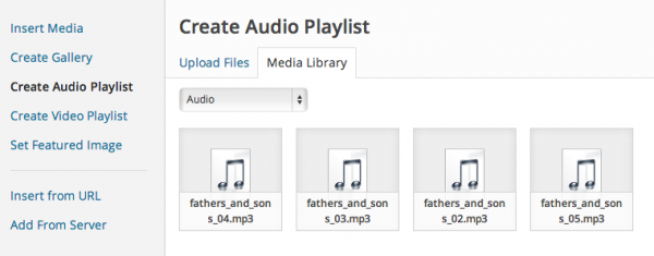 create audio playlist in WordPress