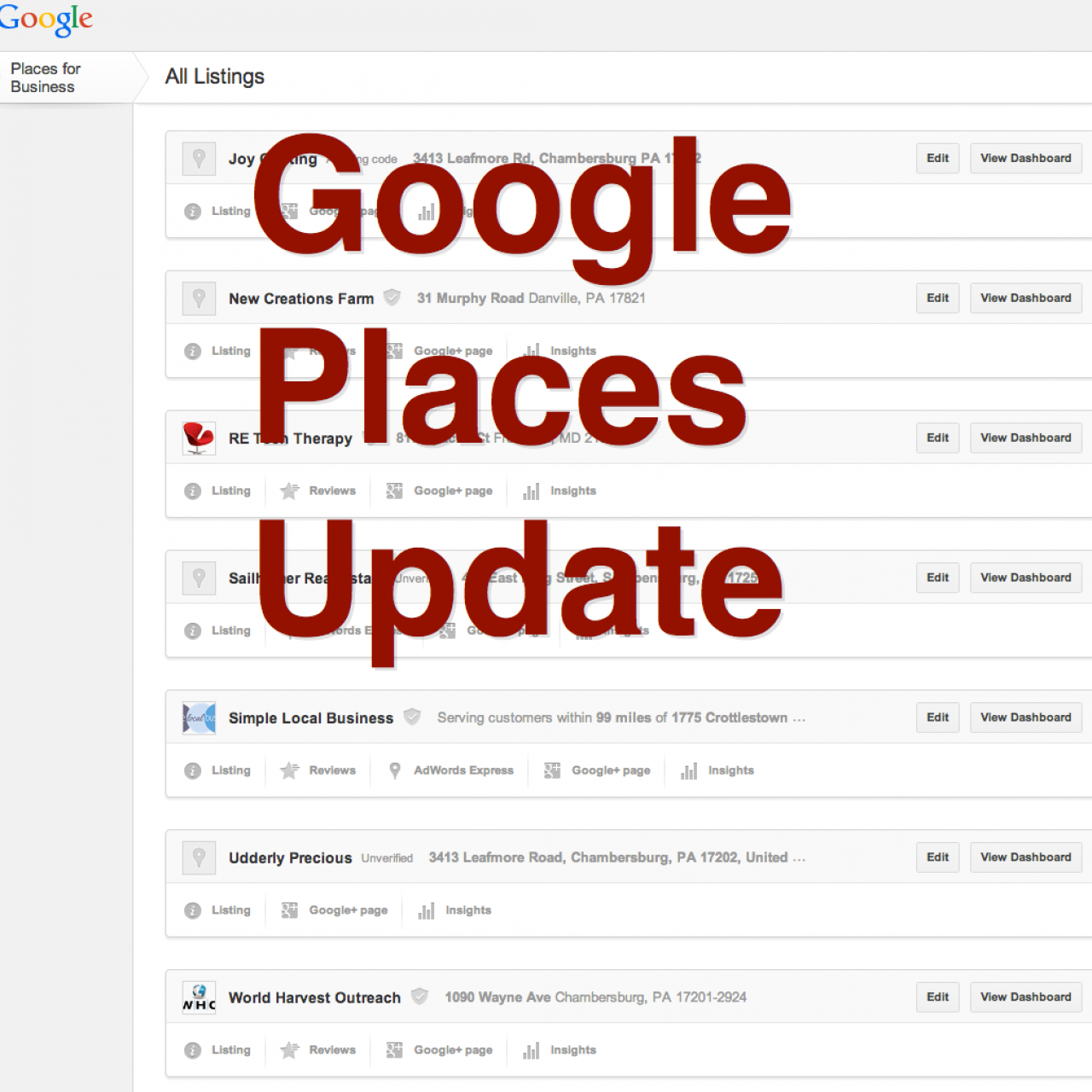 Google Places Dashboard Updates