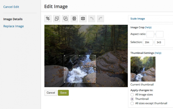 select WordPress thumbnail crop