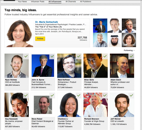 LinkedIn Today Pulse Publisher All Influencers