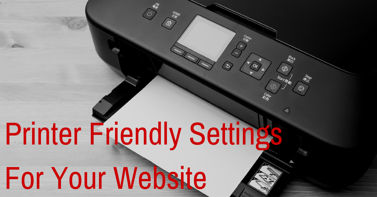 printer friendly WordPress Website settings