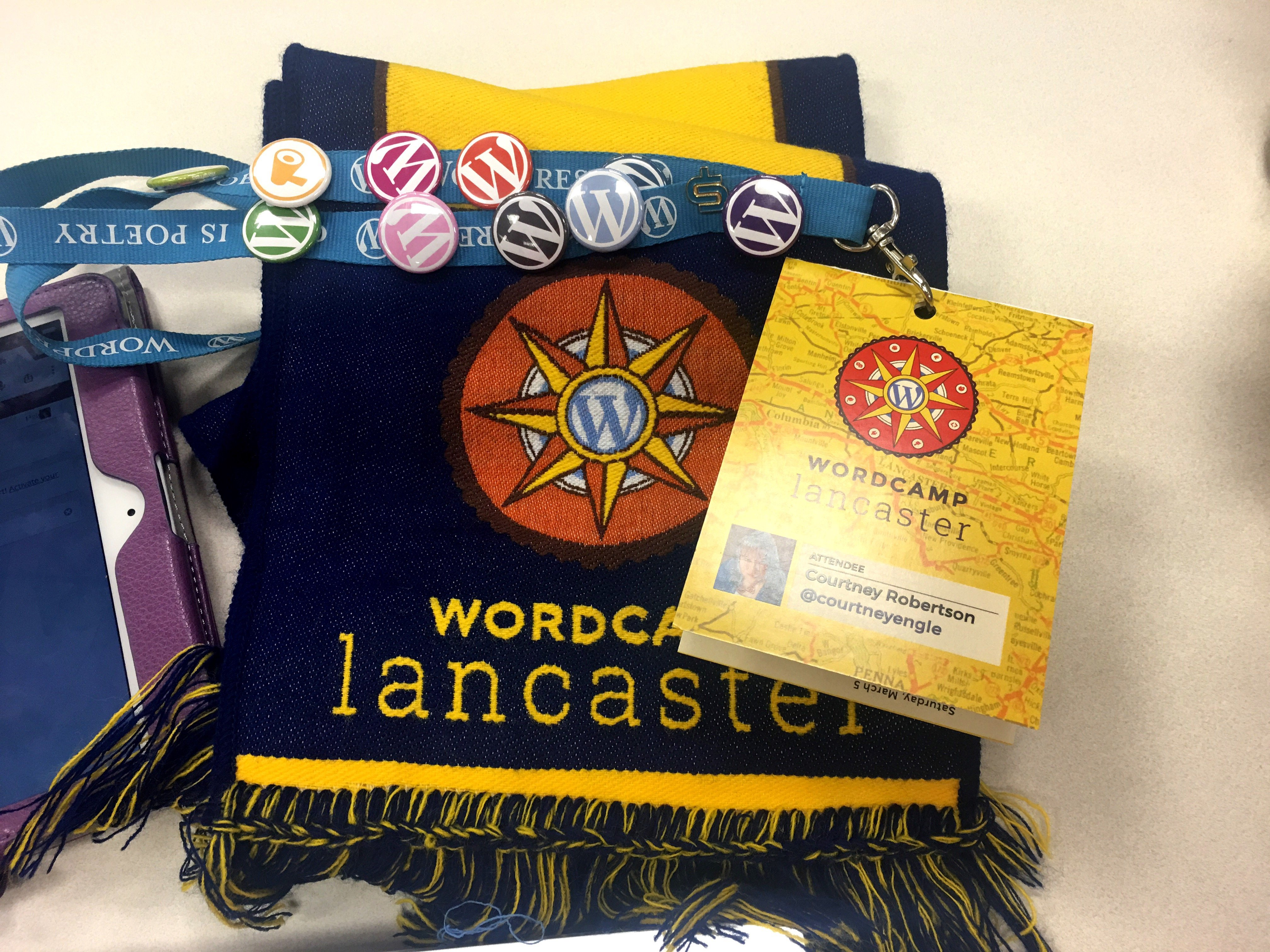 WordCamp Lancaster PA name tag and scarf