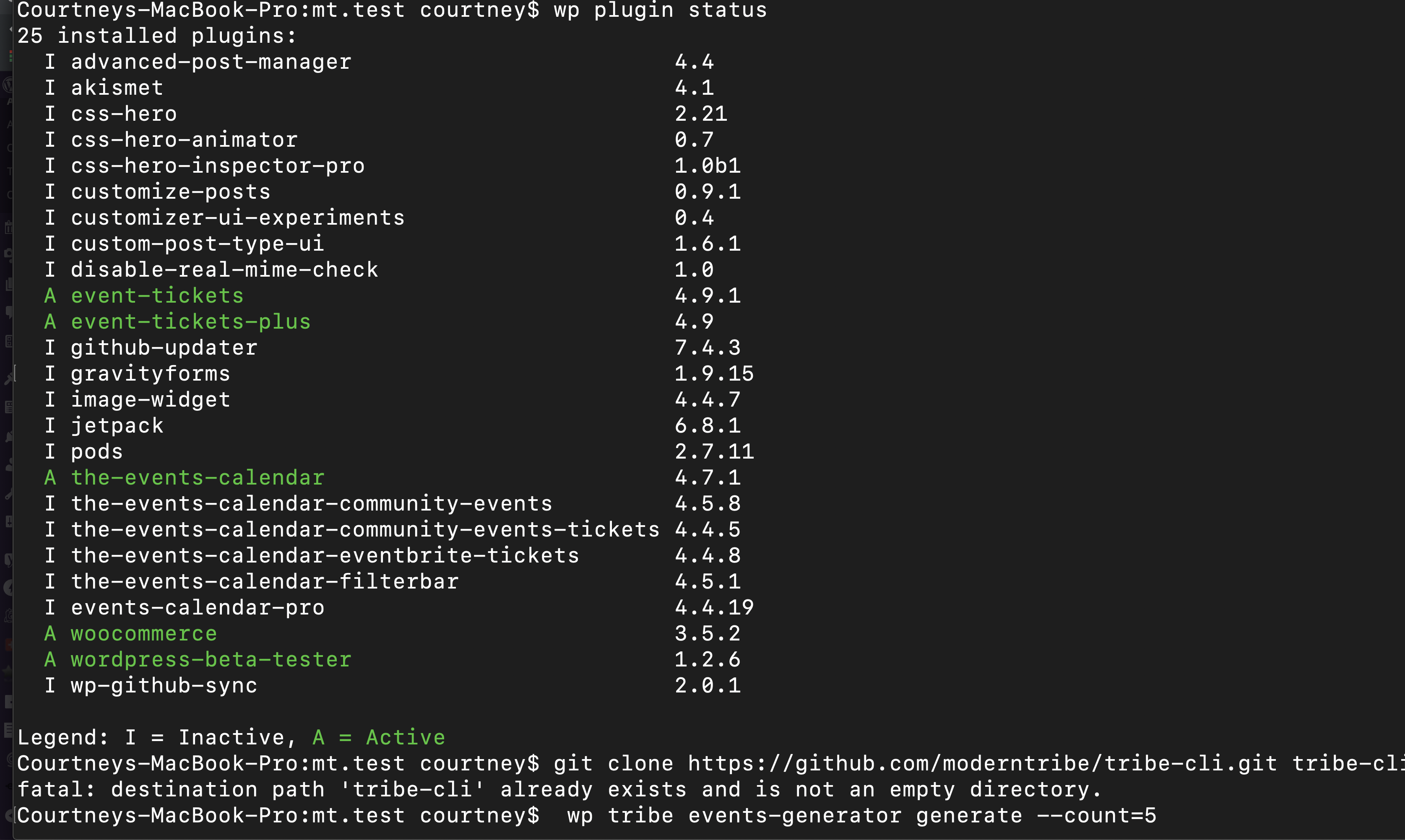 WP-CLI screenshot of updated plugins